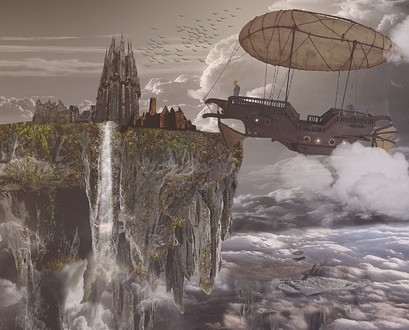 Fantasy Airship City Float Dream Floating City